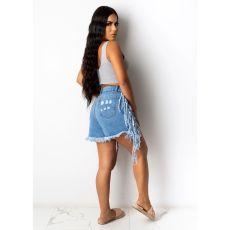 Denim Ripped Hole Tassel Irregular Jeans Shorts HSF-2494