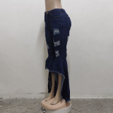 Plus Size Denim Ripped Hole Flared Jeans HSF-2468
