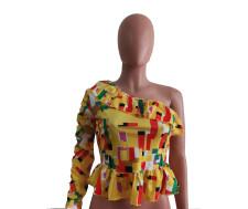 Fashion Casual Print Single Sleeve Tops BYMF-60017