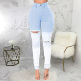 Denim High Waist Hole Skinny Jeans Pencil Pants HSF-2452