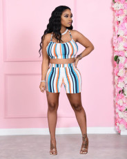 Colorful Striped Cami Top And Shorts 2 Piece Sets NKEF-6021