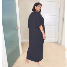 Casual Solid Half Sleeve Maxi Dress OJS-9289