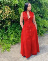 Plus Size Solid Sleeveless Pocket Maxi Dress MOF-86632