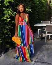 Rainbow Striped High Waist Cross Strap Maxi Dress YD-8502