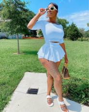 Plus Size Solid Half Sleeve Mini Culottes 2 Piece Sets KYF-3083