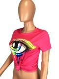 Plus Size Eye Print Short Sleeve O Neck T Shirt LM-8257