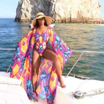 Sexy Printed One-Piece Swimsuit+Long Cloak 2 Piece Sets OLYF-6066