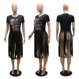 Fashion Casual Tassel Print Short Sleeve T-shirt CYA-9006