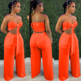 Sexy Solid Strapless Wide Leg Pants 2 Piece Sets FNN-8618