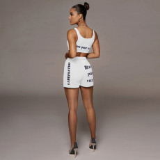 Casual Sports Printed Tank Top+Shorts 2 Piece Suits NM-8370