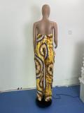 Plus Size Retro Print Strap Wide Leg Jumpsuit WLDF-80268