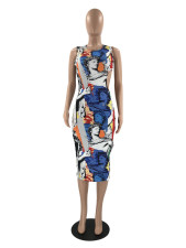 Sexy Printed Sleeveless Hollow Out Midi Dress YMF-86805