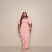 Plus Size Solid Short Sleeve Ruched Maxi Dress BMF-066