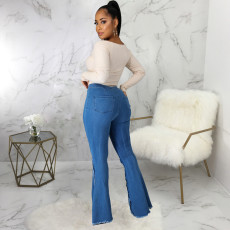 Plus Size Fashion Ripped Denim Flared Pants HSF-2432