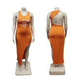 Plus Size Letter Sleeveless Irregular Long Dress WTF-9147