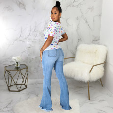 Plus Size Sexy Fashion Trend Ripped Slim Flared Jeans HSF-2487