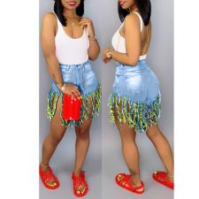 Plus Size Fashion Tassel Denim Shorts HSF-2095-2