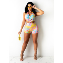 Sexy Printed Halter Backless Hollow Romper YIY-5297