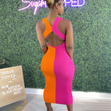 Contrast Color Backless Sleeveless Long Dress ANNF-6088