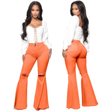 Plus Size Fashion All-match Ripped Denim Flared Pants HSF-2024-1