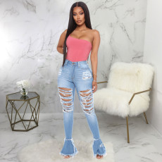 Plus Size Fashion All-match Ripped Micro Flared Jeans HSF-2277-6