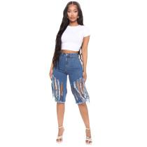 Plus Size Fashion Trend Frayed Ripped Hole High Waist Denim Shorts HSF-2467