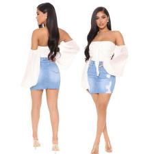 Denim Ripped Bodycon Mini Skirt HSF-2419