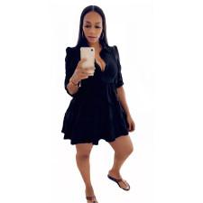 Plus Size Solid High Waist Long Sleeve Ruffled Mini Dress OMY-0022