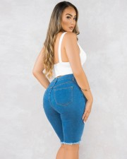 Plus Size Denim Ripped Hole Knee Length Jeans OLYF-6065