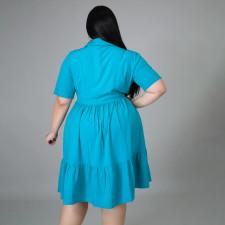 Plus Size Solid High Waist Short Sleeve Shirt Dress BMF-068