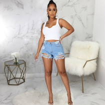 Fashion Sexy Frayed Denim Shorts HSF-2518