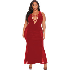 Plus Size Mesh Patchwork Sleeveless Long Dress CQ-127