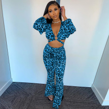 Sexy Leopard Long Sleeve Two Piece Pants Set XINF-60017