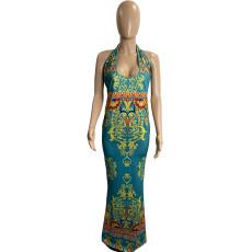Plus Size Sexy Printed Halter Maxi Dress HBF-4030