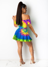 Sexy Printed Off Shoulder Pleated Mini Skirt 2 Piece Sets OMMF-1678