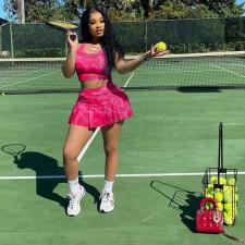 Sports Tennis Tank Top+Pleated Mini Culottes 2 Piece Sets YIDF-81331