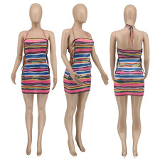 Sexy Striped Lace-Up Halter Mini Dress WMEF-20755