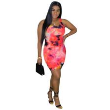 Sexy Tie Dye Print Sleeveless Bodycon Mini Dress OMMF-1830