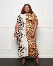 Plus Size Leopard Short Sleeve Maxi Dress HBF-4031