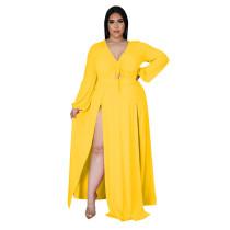 Fashion Sexy V-neck Solid Color Plus Size Slit Maxi Dress CYA-1583