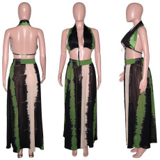 Colorblock Halter Print Sexy Long Skirt Suit SH-390155