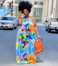 Plus Size Fashion Map Print Halter Neck Long Dress KYF-3085