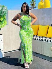 Fashion Sexy Halter Neck Print Slit Long Dress WY-6823
