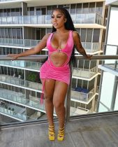 Sexy Hollow Out Bodysuit+Mini Skirt 2 Piece Sets MDF-5243