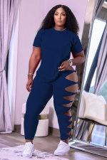 Plus Size Solid T Shirt Hollow Pants 2 Piece Sets MTY-6553