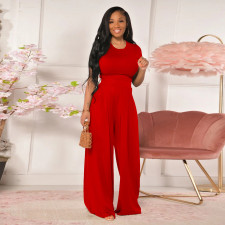 Loose Solid Color Short Sleeve Wide-leg Pants Two Piece Sets TE-4259