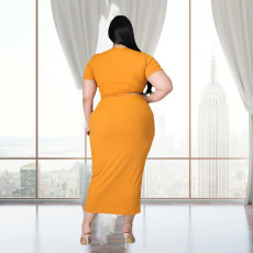 Plus Size Solid Tie Up Short Sleeve Long Skirt 2 Piece Sets LDS-3283
