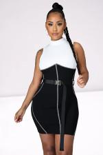 Sexy Patchwork Sleeveless Bodycon Mini Dress Without Belt RUF-8937