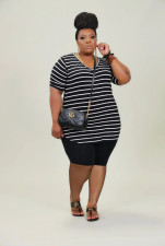 Plus Size Casual Striped Short Sleeve Suit WAF-77215