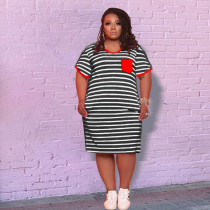Plus Size Casual Striped Short Sleeve Casual Dress YH-006